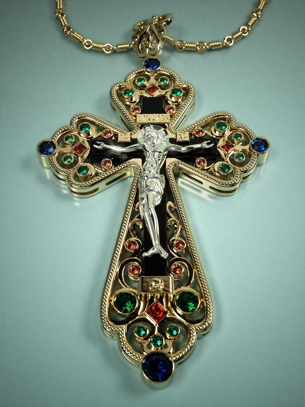 Украшение крест из камней фото
