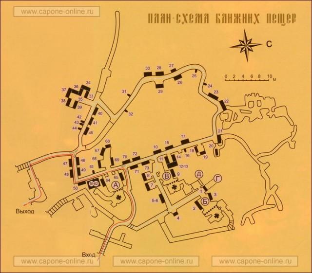 План-схема Ближних пещер
